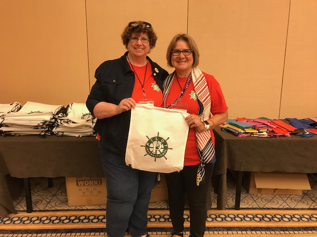 Rhonda Knudson (President-elect Great Bend Pilot Club) and Faye Kuhn (Govenor of Heartland District Pilot CLub) participated in the service project (Cradle to Crayons) at PI Convention which will benefit the children in Chicago that are at risk and unable to afford school supplies. Eaach student will be given a bag filled with supplies with the Pilot Club logo on it (a ship's wheel).