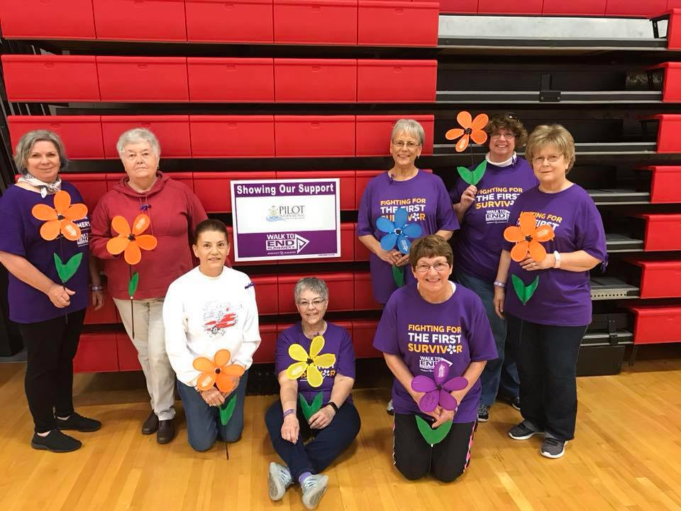 Great Bend Pilot members who participated in the Walk to End Alzheimer's on October 5, 2019 are Janice Walker, Jai Marietta, ( kneeling) Renee Johnson, (sitting) Betty Schneider, (kneeling) Marty Aldrich, (in back) Mary Cramer, Rhonda Knudson and Joyce Beadles-Fry. The Pilot team exceeded their goal of raising $1,000.00.