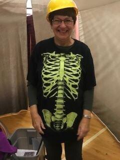 """Marty Aldrich in her """"bones"""" costume."""