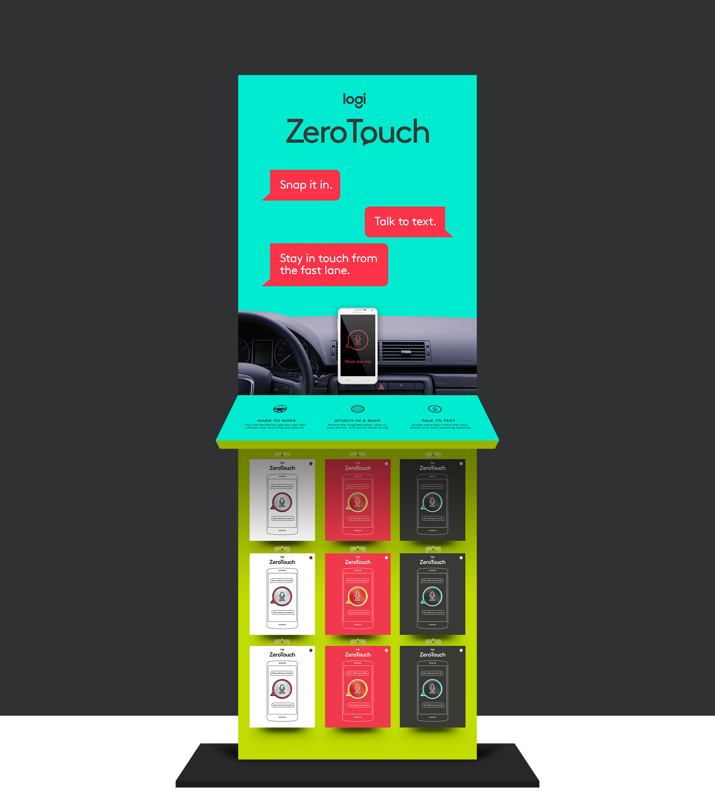 Logitech ZeroTouchKeep in touch,from ten and two. - We created a launch campaign was designed to get tech-savvy drivers excited about using ZeroTouch. To dodge the inherent elements of taboo and fear in these types of conversations, we created charming, illustrated characters which anchored the messaging across multiple platforms.Creative Direction, branding, advertising, packaging