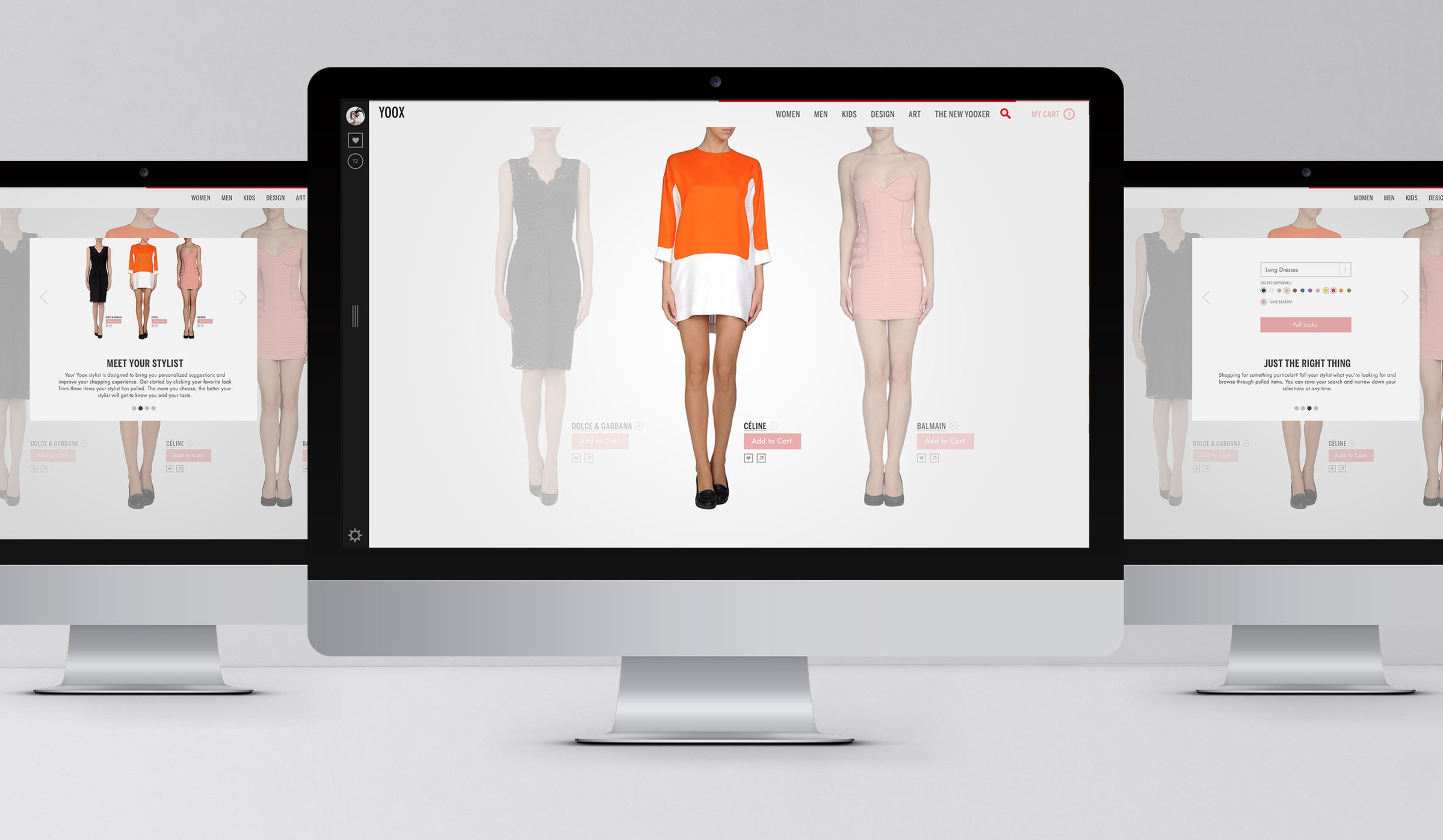 Yoox.comPersonal Shopping - Sideways created concepts for Yoox's US online store. An exercise in emotion-centric ecommerce, the Yoox concept focuses on presenting shoppers with limited options in order to hone personal preferences.creative, application design, Concept