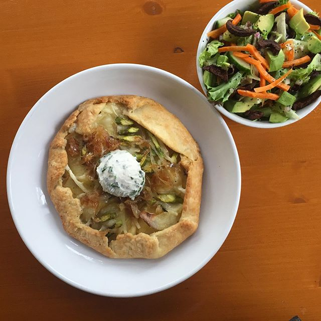 We're not open for Mother's Day at this location, but maybe bring your mama tomorrow morning for breakfast salad and galettes? Tomorrow morning's special is a Yukon gold potato, asparagus, and @violife_foods mozzarella galette with caramelized shallots and chive cream cheese, served with a lil salad with shiitake bacon and lemon poppyseed dressing. #vegan #🌱🥓 #veganbreakfast #brunch #veganbrunch #annarborvegan #detroitvegan
