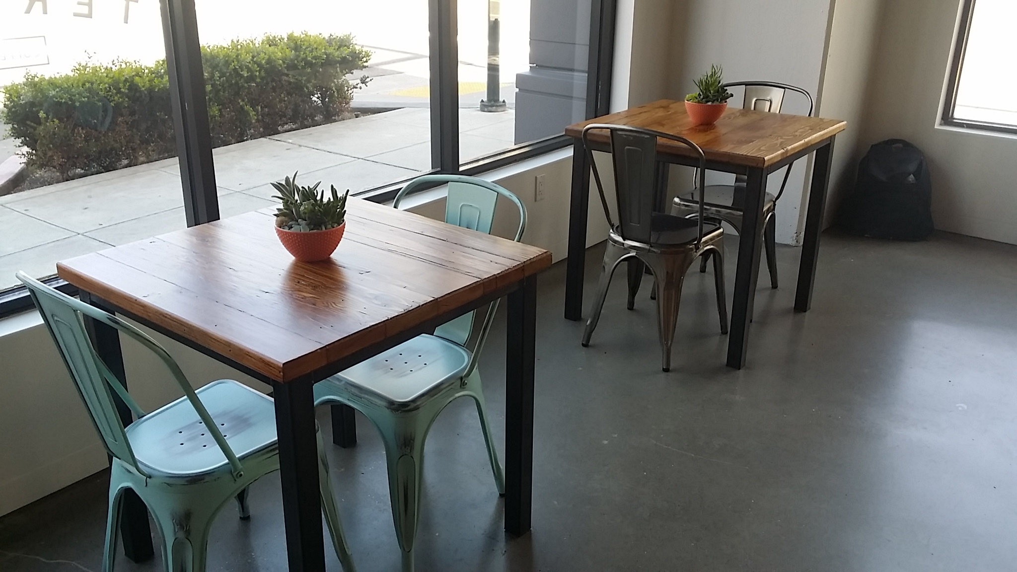 A couple of tables that went into Tertulia Coffee in Oakland, CA.