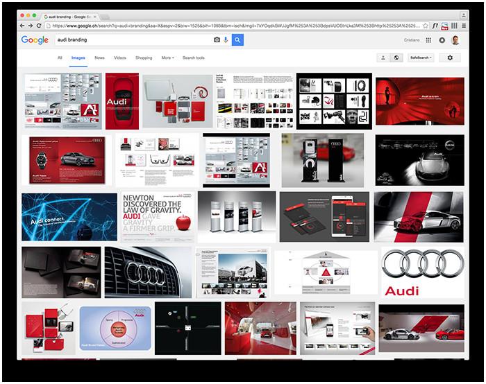 Foto - Come si nota in questa ricerca su Google, il branding Audi ha una sua coerenza ed espressione sia visiva che verbale che lo rende unico e immediatamente riconoscibile, a prescindere dal canale in cui viene promosso.
