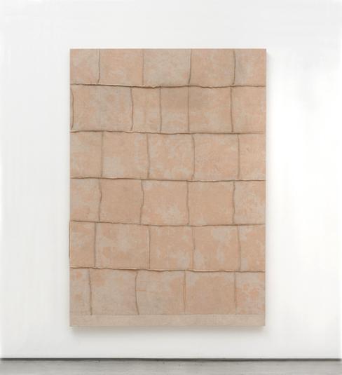 AYAN FARAH b. 1978  Rhen  2014  Terracotta on linen  170.2 x 120.7 cm