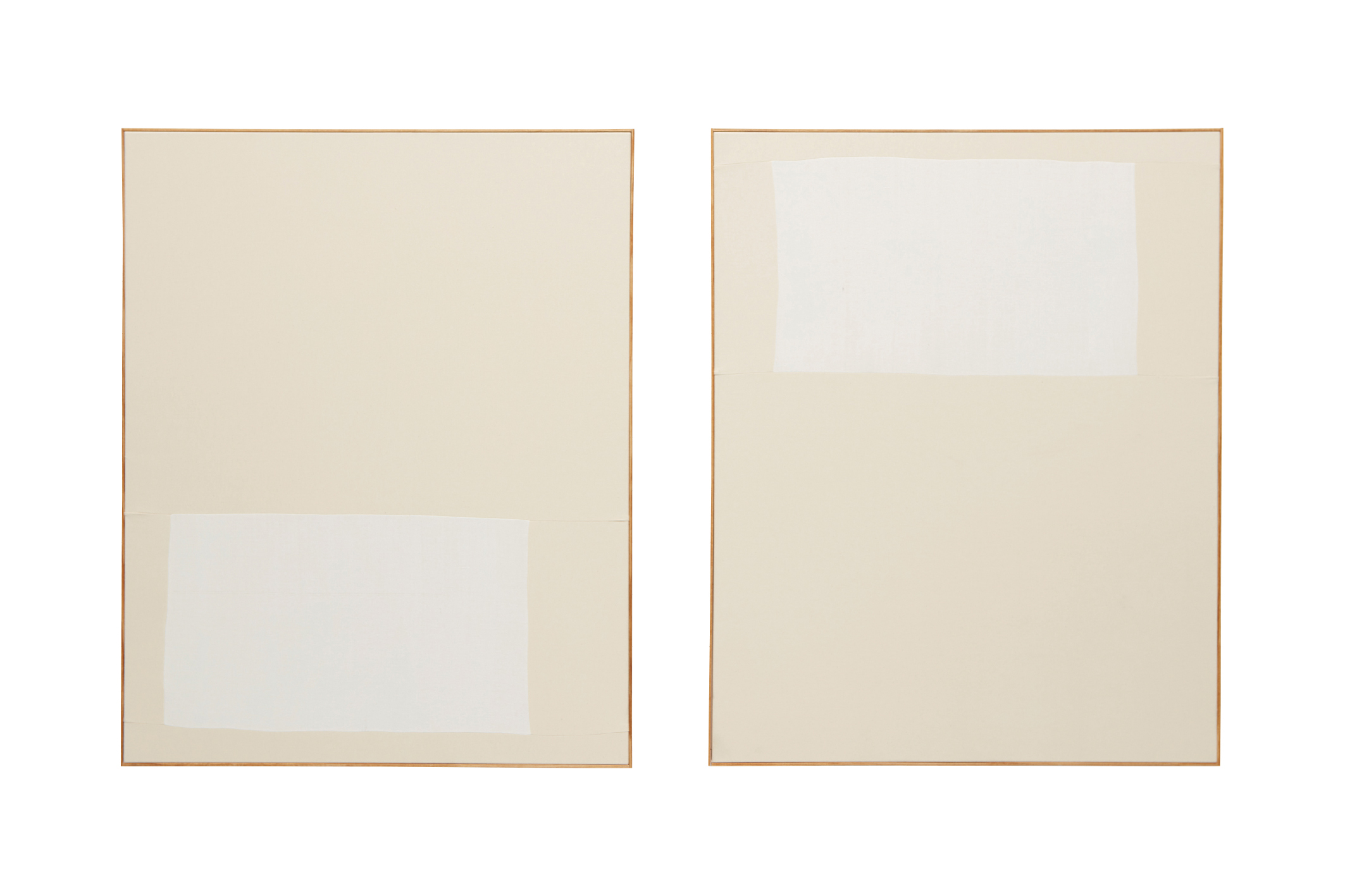 ETHAN COOK  Diptych, two works: (i) Untitled; (ii) Untitled  2013  Hand woven cotton canvas and canvas, in artist's frame  each 128.3 x 102.9 cm