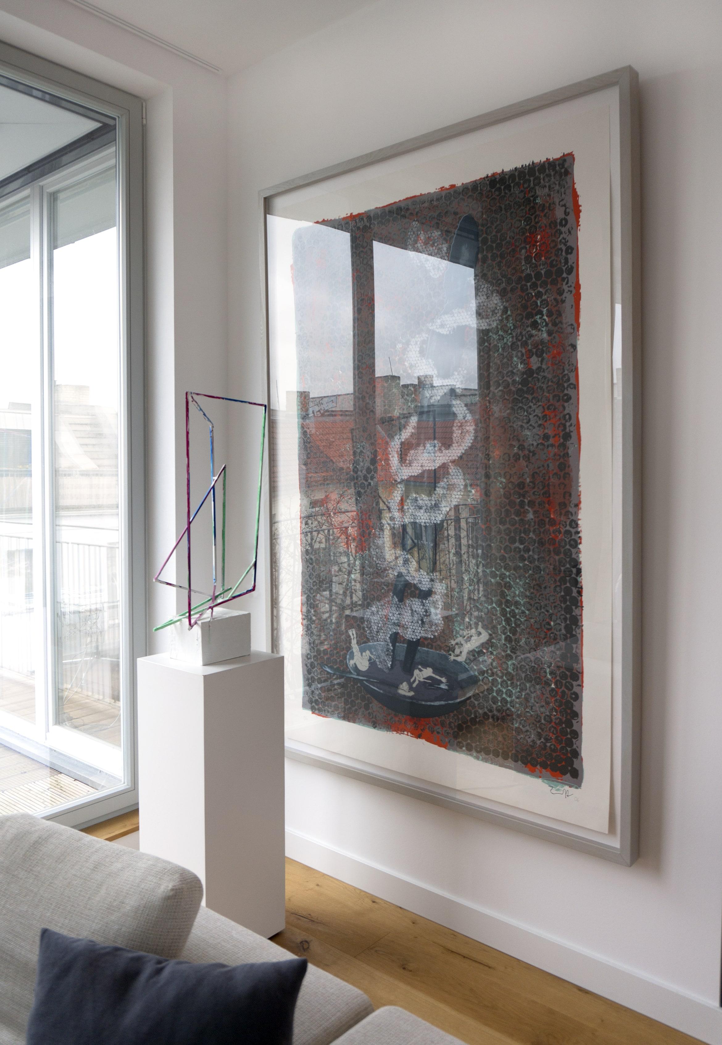 Max Frintrop  Untitled  2012  Sculpture, unique piece  Height 83cm    Jörg Immendorff  SELBST MIT AFFEN  2006  Serigraphie + Mixed Media  auf 300g Hahnemühle Bütten  208,28 x 140,71 cm
