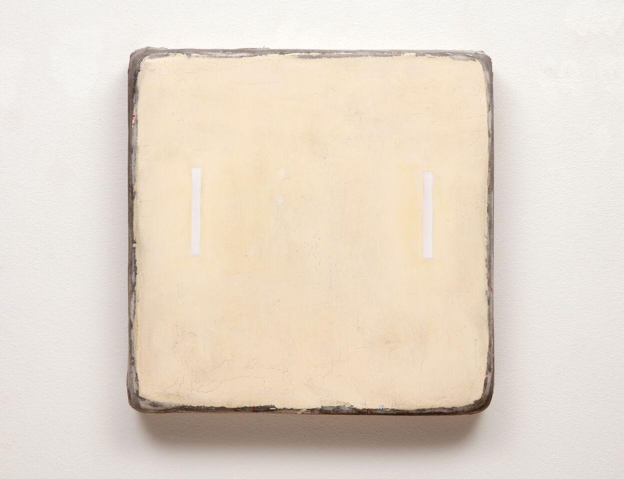 Otis Jones  Yellow with Two White Rectangles  2015  Mixed media on canvas laid on wood panel  61 x 61 x 7.6 cm