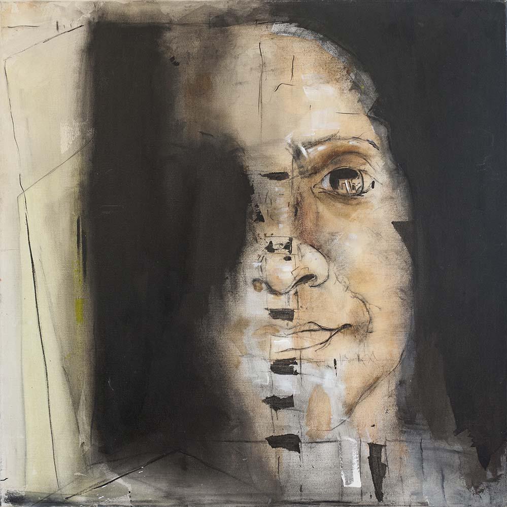 20. SELF-PORTRAIT, 2014, mixed media & acrylic on canvas, 30 x 30 inches.jpg