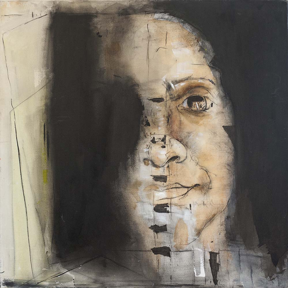 SELF-PORTRAIT, 2014, mixed media & acrylic on canvas, 30 x 30 inches
