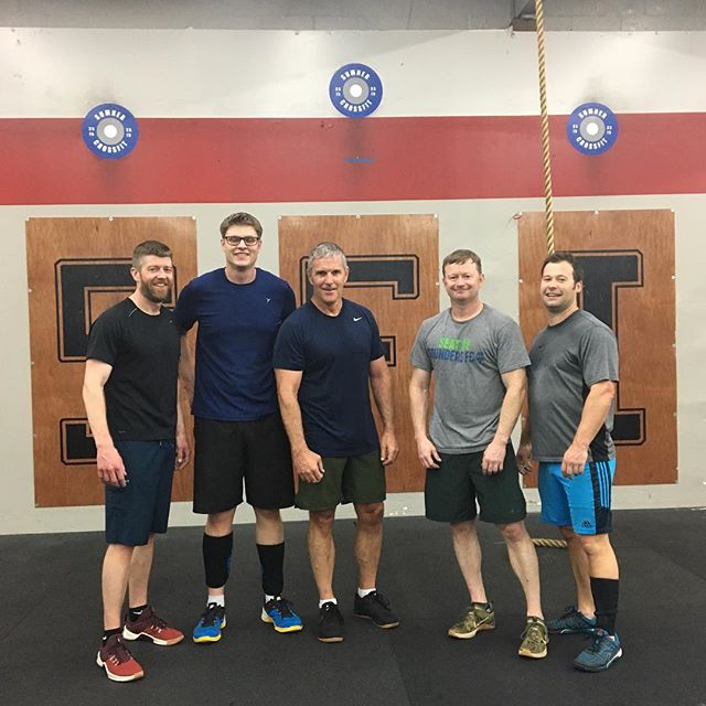 6AM Men's Club getting their first peg boards! @pbbeckwith had to help get the pegs a few times lol 😂 #crossfit #crossfitfamily #sumner_crossfit