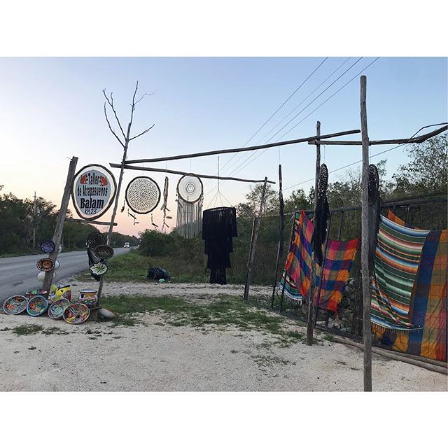 Local vendors in a small Mayan village between Tulum and Cobá make a living selling handmade dream catchers, wood carvings and ceramics. One of the most treasured finds of the trip. #atrapasueños #tulum #coba #mexico