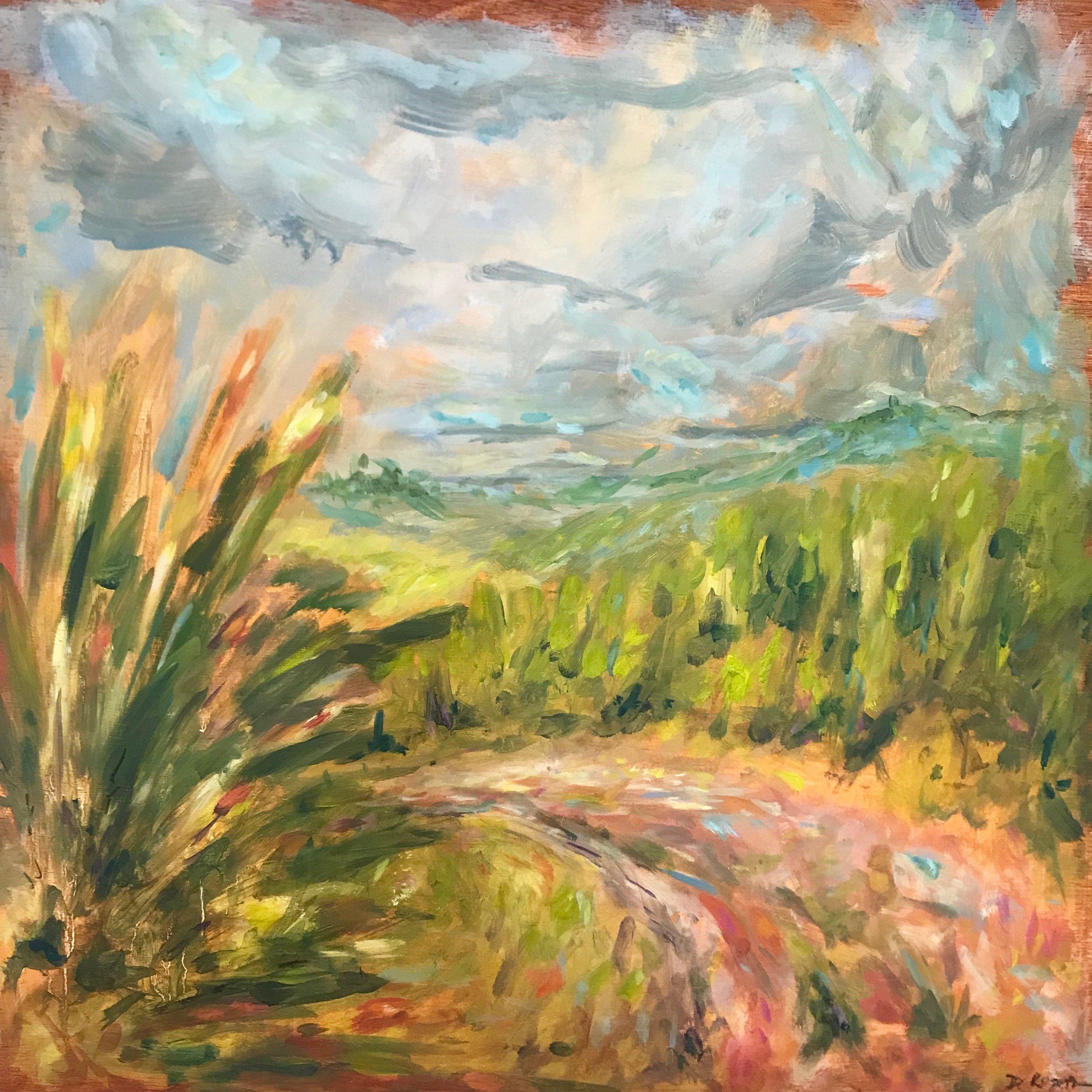 Broughton Down I, 60x60cm oil on panel, framed