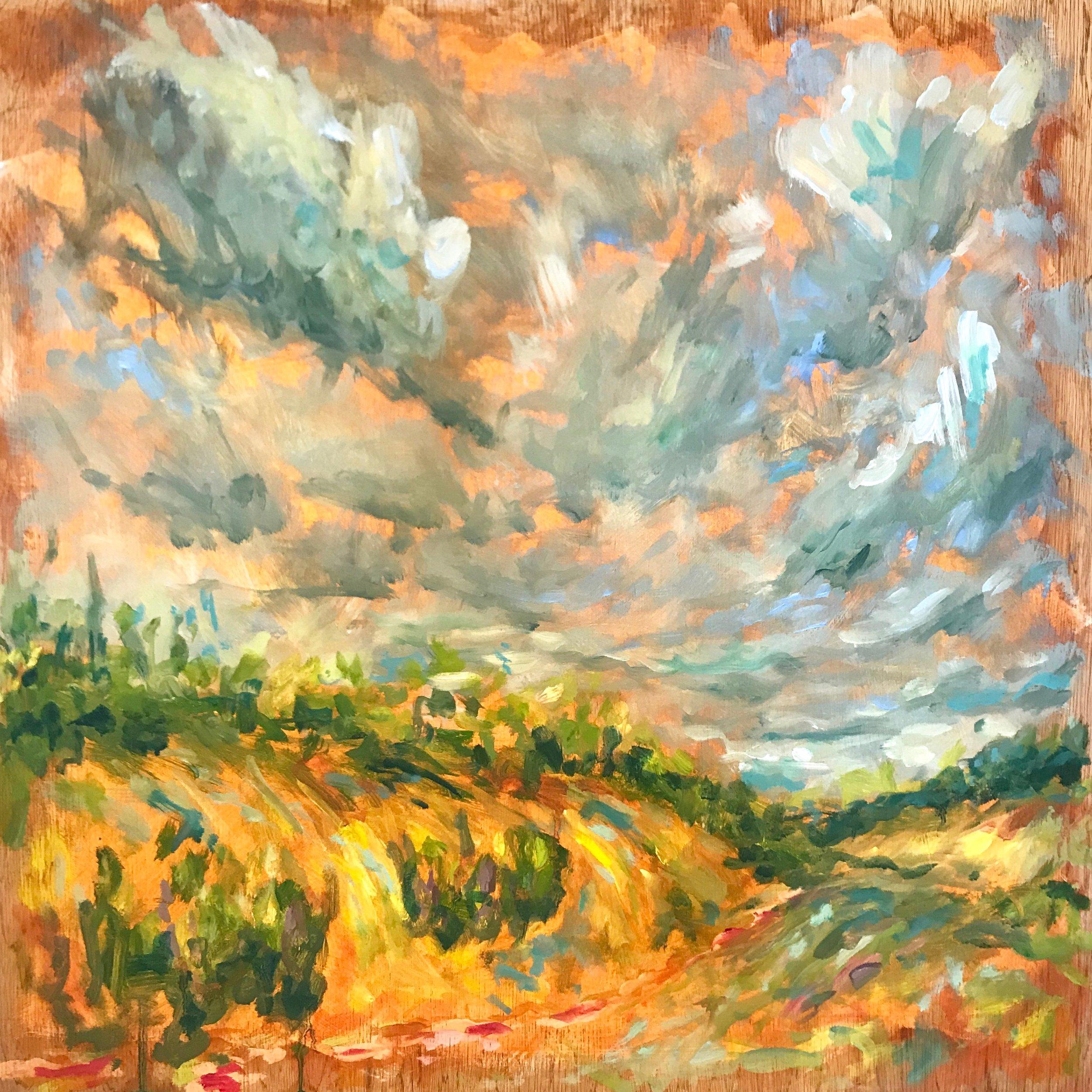 Broughton Down II, 60x60cm oil on panel, framed