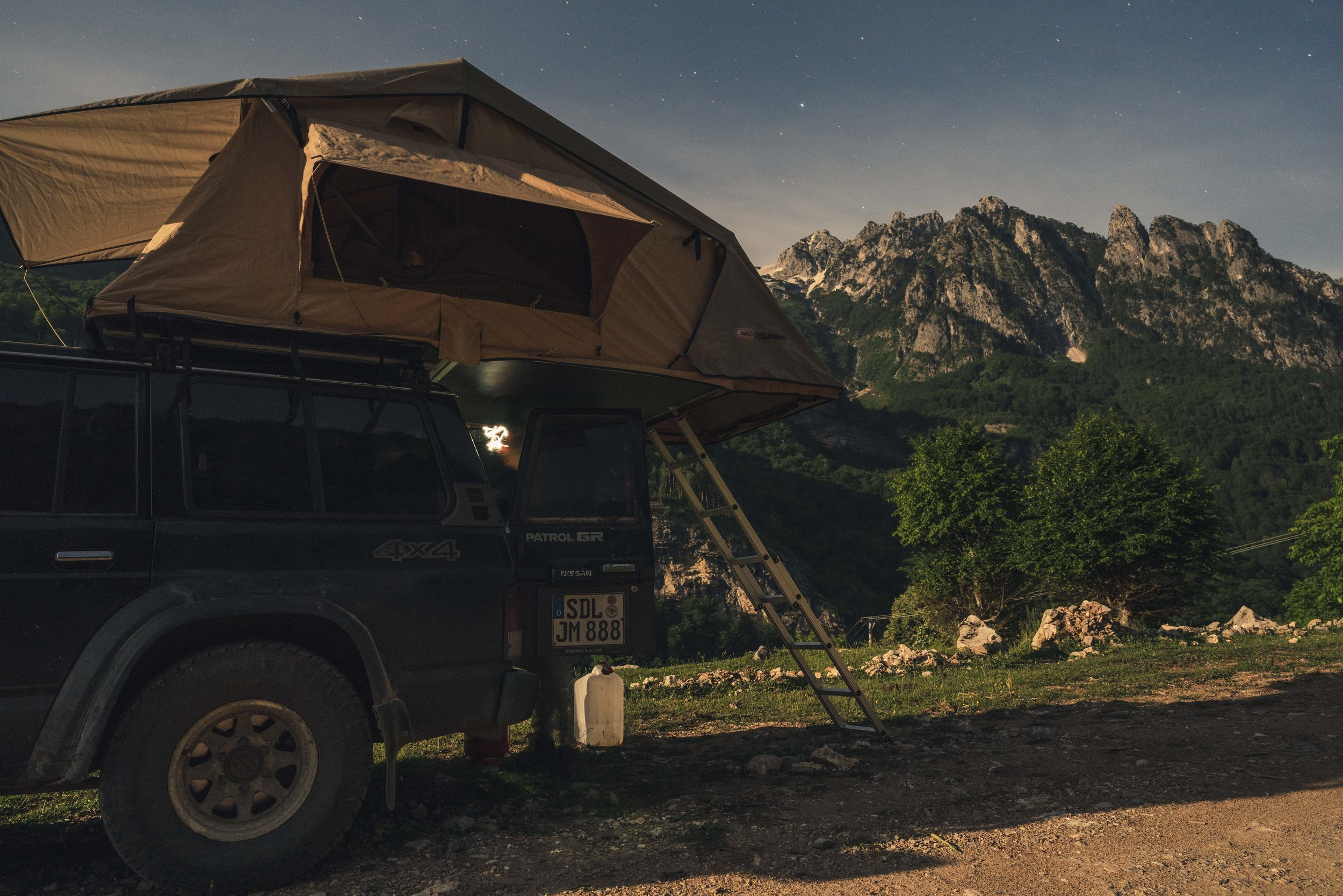 Our destination for tomorrow in the back, stars out, beauty in Valbona Valley