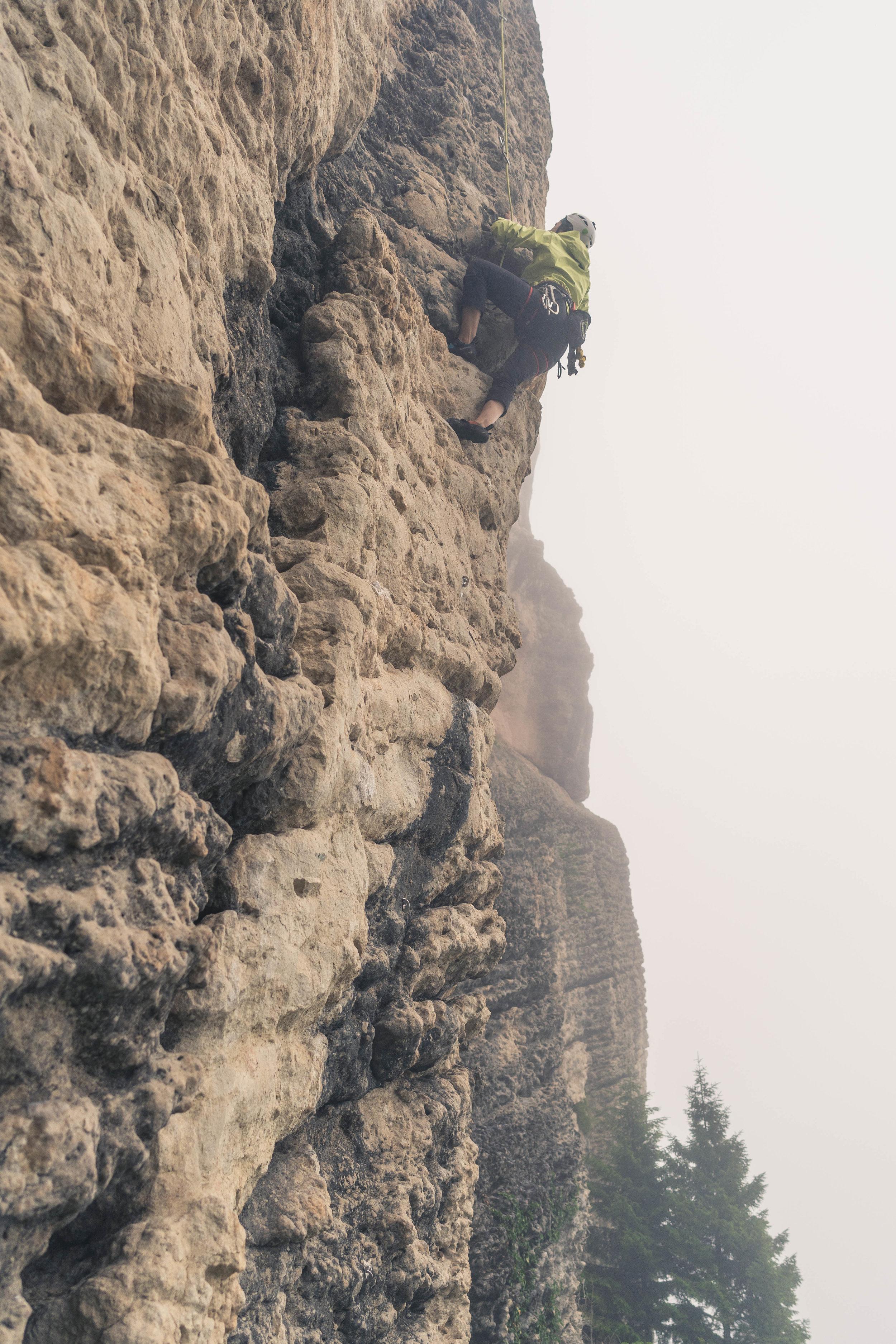 Climbing in the mist, Dogankaya/Trabzon