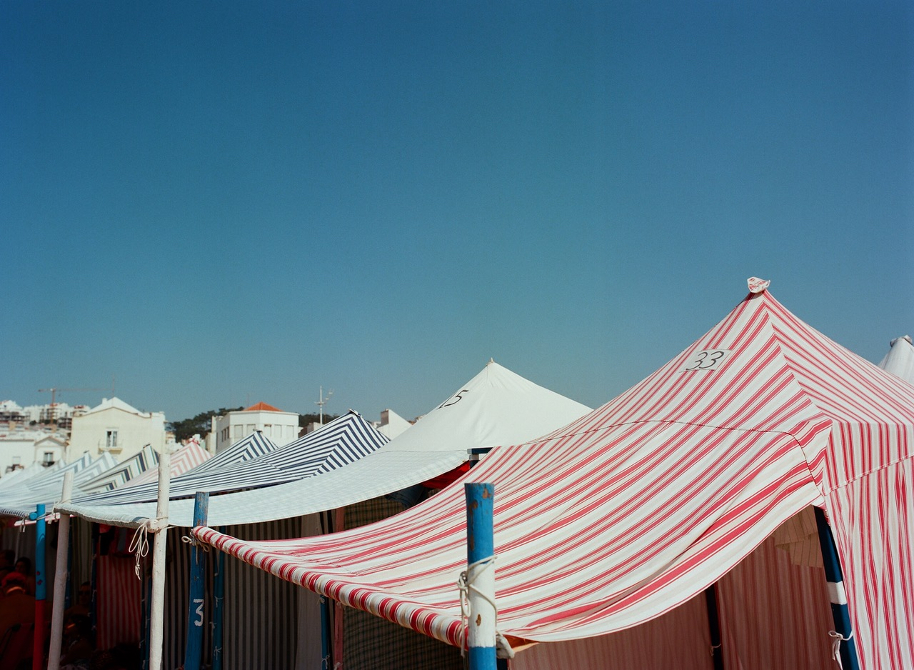 Striped changing tents in Nazare