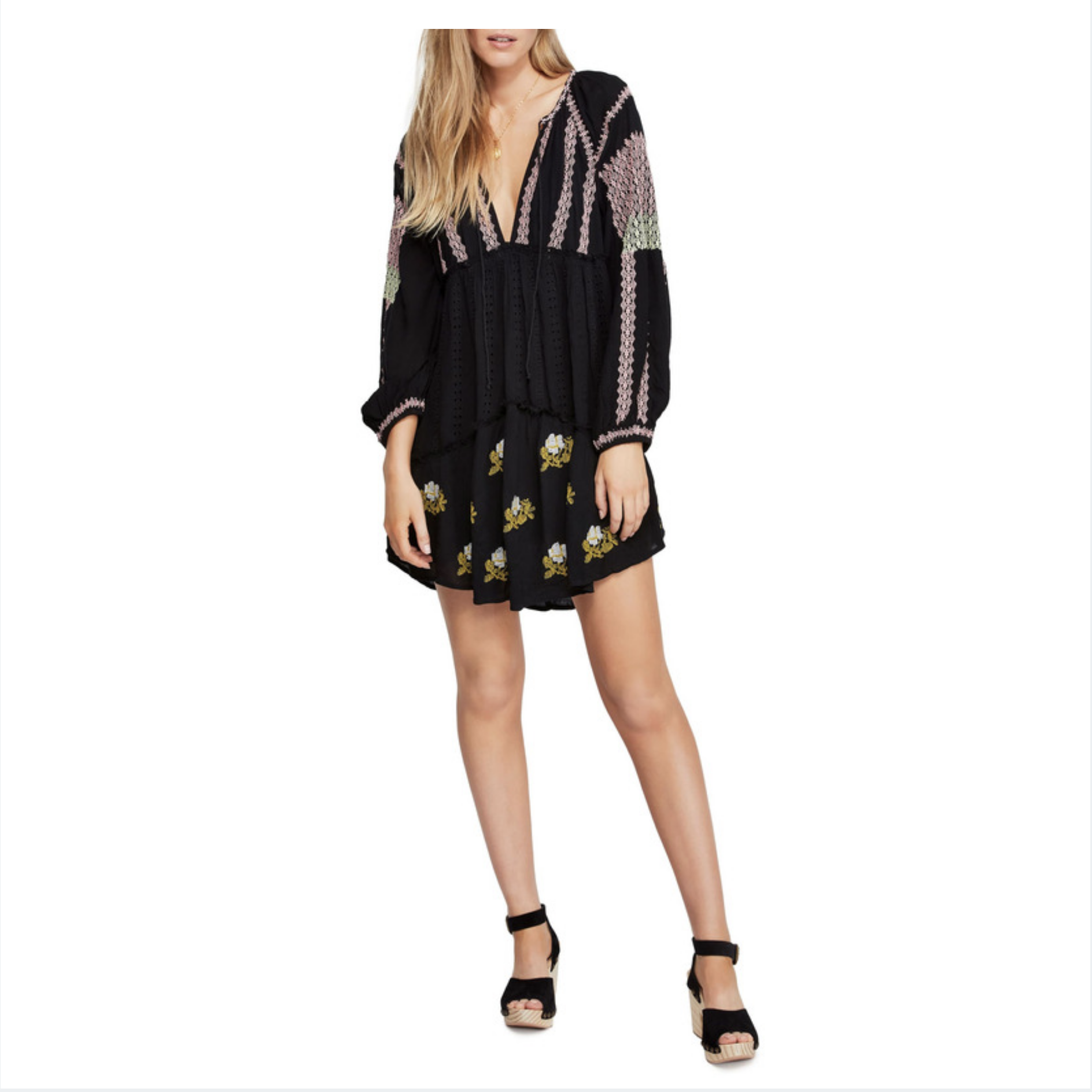 Free People Embroidered Long Sleeve Minidress