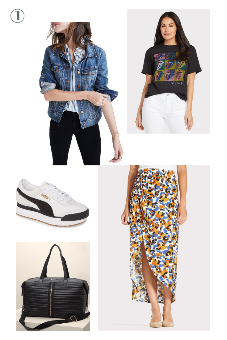 Day 1: From the Airport to The Vineyards - Pair an animal print skirt with a graphic tee, this perfect denim jacket and stylish sneakers for the plane and then pack your slides in your carry-on to transition from the plane to the vineyards without losing any vacay time!