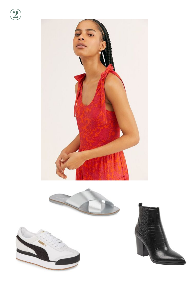 Day 2: Something Soft and Flowy - Pack a midi dress or two that give you that feeling of floating through the vineyards with a glass of vino in hand! Pairs perfectly with platform sneakers for tours, a slide for lunch on the patio, or a bootie for the fall.