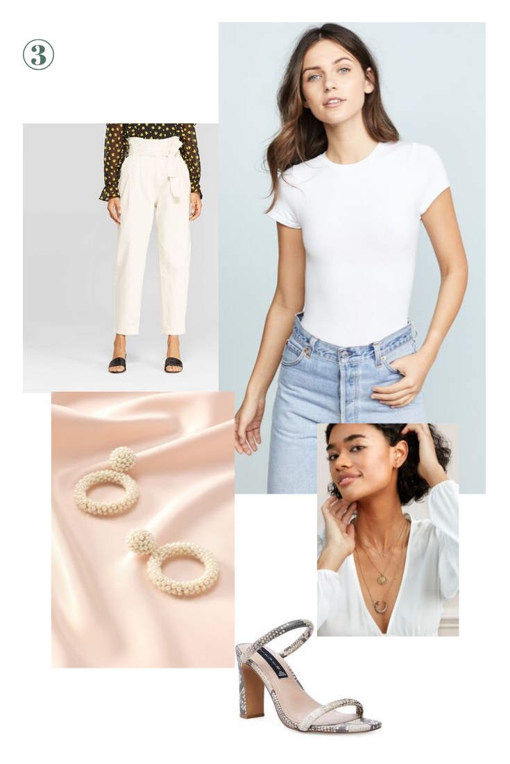 Day 3: All White E'rything - White from head to toe feels very whimsical and on trend. Pair these paper bag waist pants with a simple white bodysuit or go all out with a puff sleeve statement tee. Finish off the look with these faux pearl Oh Ya statement earrings and this dainty layering trio because you'll be saying YES to more wine all day long!For shoes I'd suggest either the slides you packed to wear with the dress or a snake print block heel for a little height and texture.