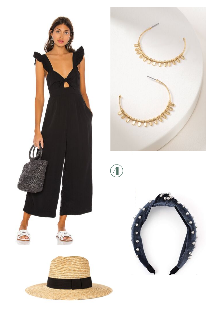 Day 4: Throw On And Go - Jumpsuits are a staple when traveling to save space and remove any thinking when getting ready - simply accessorize with a beaded headband or straw hat and a great pair of hoops and out the door you go!