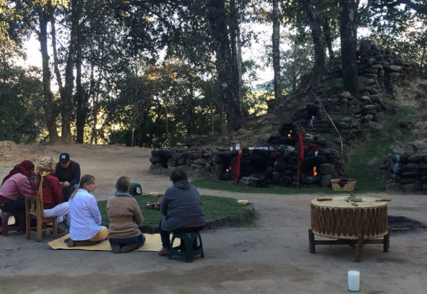 Preparing for Solstice night at the altar in IXIMCHE with Mayans
