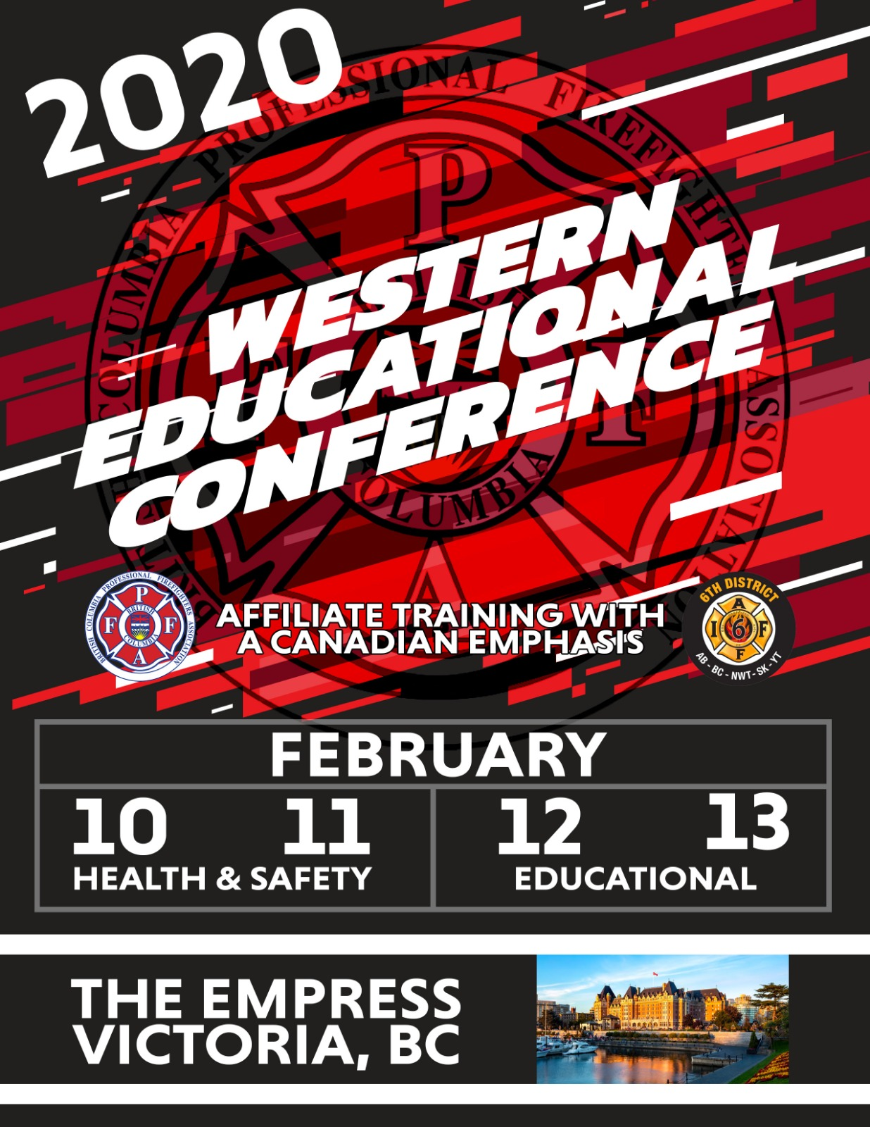 To all Western Affiliates, - We invite you to attend the Biennial Western Educational & Training Conference, February 10-13, 2020 held in beautiful Victoria, BC at the Fairmont Empress Hotel and Victoria Conference Centre.Our panel of expert instructors from across Canada and the entire IAFF will deliver relevant material important to your Union Officers and Occupational Health & Safety advocates. We are confident the material presented will assist both new and current leaders of your association in being prepared in all aspects of labour representation and occupational health and safety.There will be an array of social opportunities to network and collaborate in the important issues. We hope you are able to tour the City of Victoria and Vancouver Island area before or after your workshop sessions.