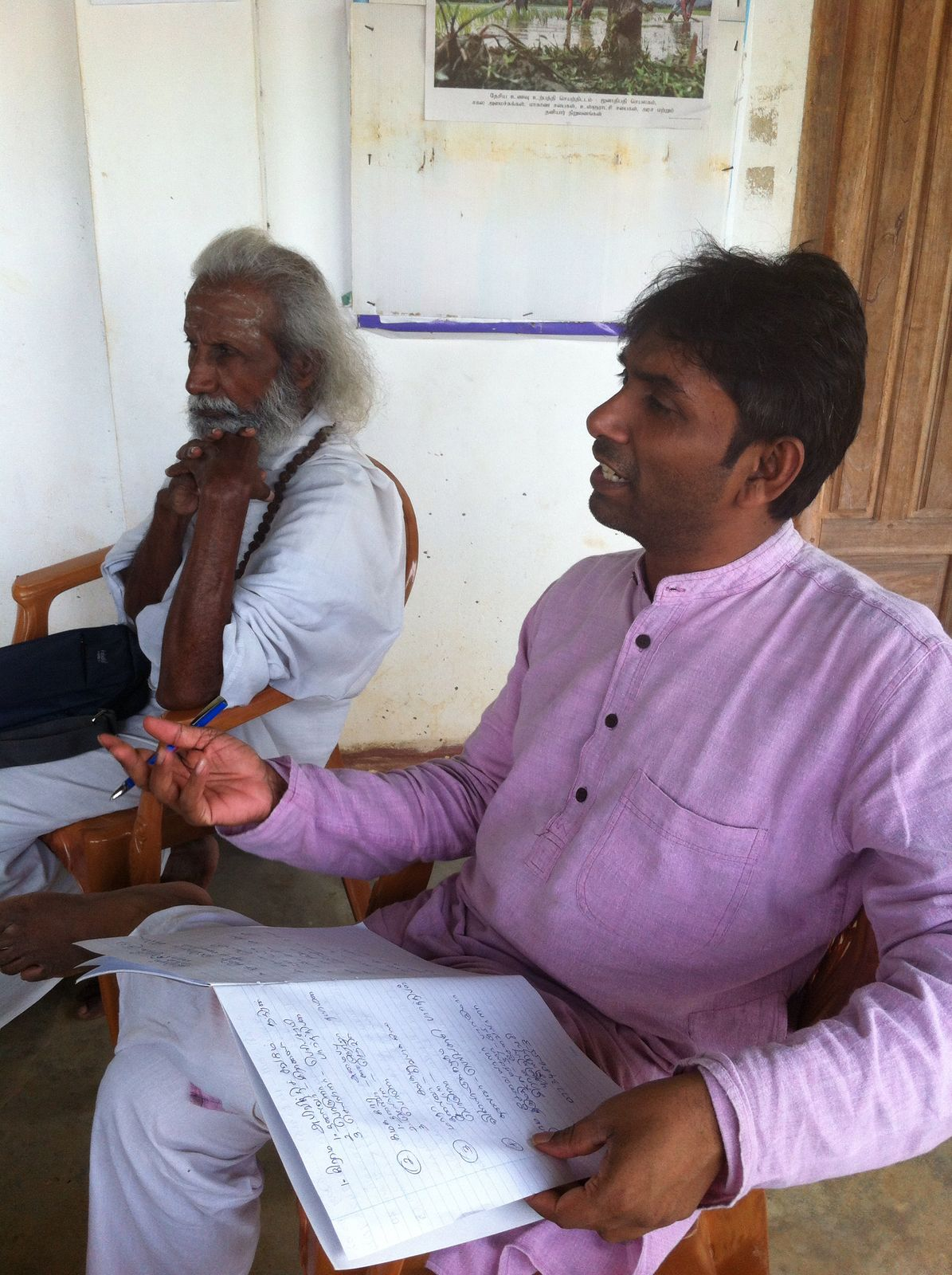 Vyasah (right) our Director in Colombo and Sri Kaliyuga (left) our divine helper In the north and east of Sri Lanka.