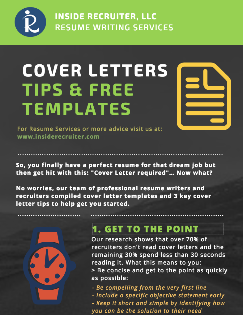 Free Cover Letter Templates - A good resume alone won't always land you the job offer of your dreams. With the help of career experts, recruiters, and a little bit of research, we have compiled free templates, guides, and resources to help you reach the next step of your career.Why are these resources free? Because we really do care about helping our customers and clients. We hope find value in these guides and decide to use us in the future. Thanks!-Nate Pedronan, Operations Director | Partner