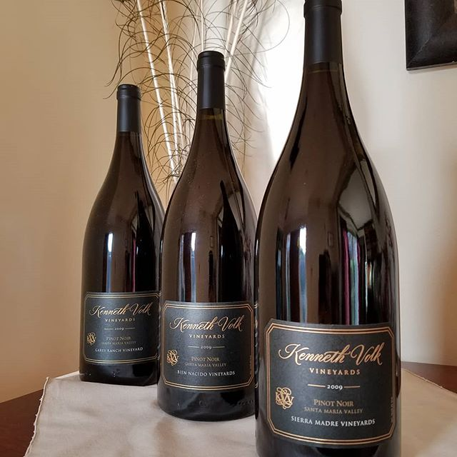 This stunning trio of @santamariavalley Pinot Noir magnums generously donated by @kennethvolkvineyards could be yours if the bid is right at the Vintners Festival Silent Auction on May 4th at Rancho Sisquoc Winery. Get your tix at sbvintnersweekend.com 🍇🍷🍇 #santabarbarawinecountry #santamariavalley #santamariastyle #sierramadrevineyard #gareyranchvineyard #biennacidovineyard #calove