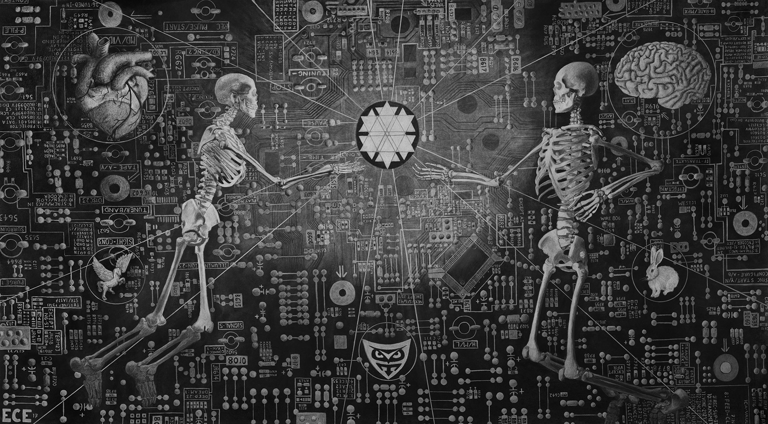 """Memory Implant"" - 36"" X 64"" - Charcoal on Paper - ©2017 Edward C. Eagerton"