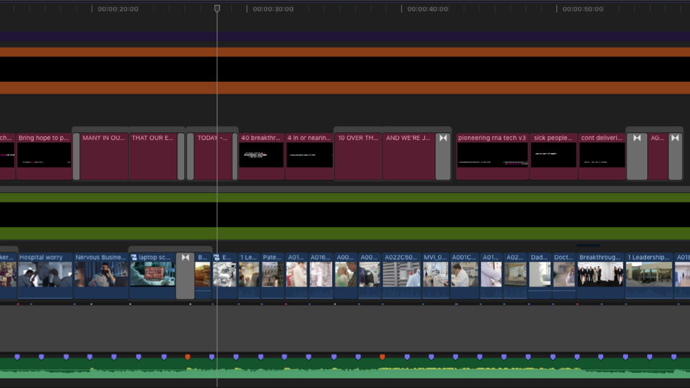 "Here is a snippet of our video timeline for the ""Power of Yes"" Campaign we created for Ionis Pharmaceuticals."
