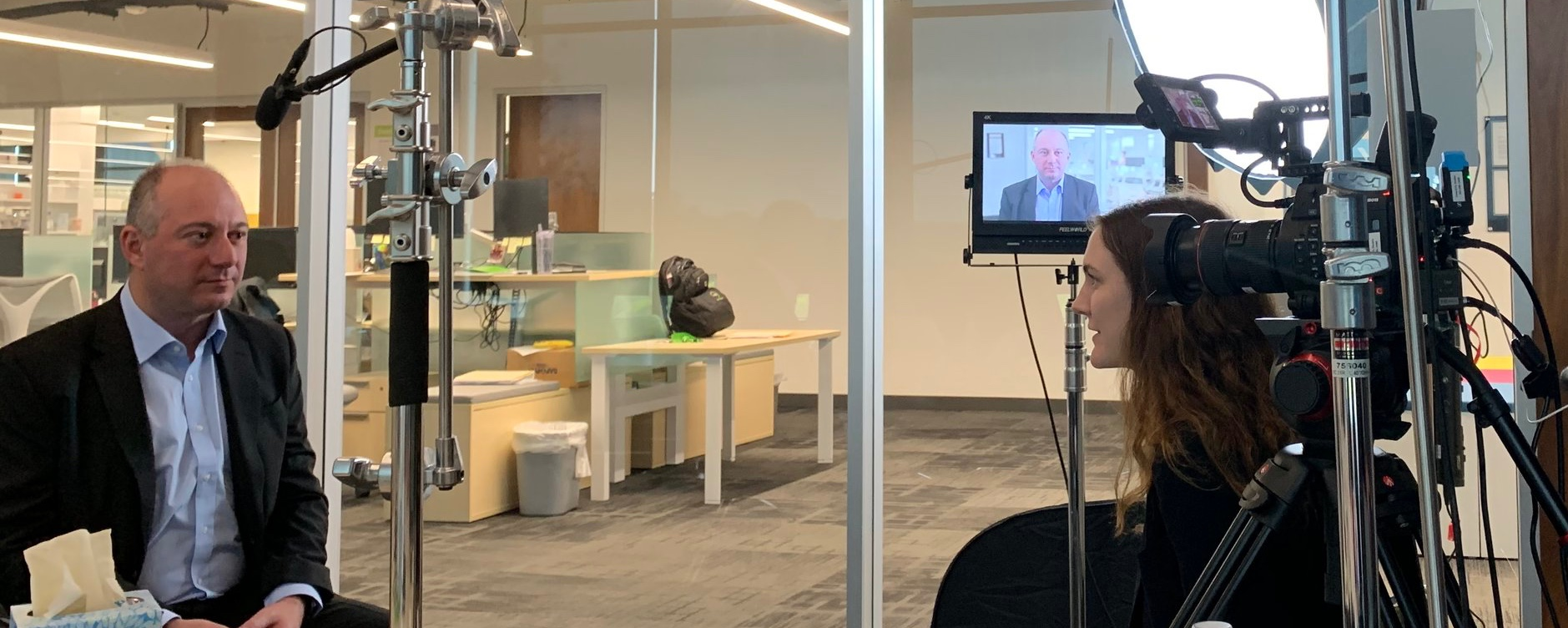 """Here is a BTS image showing our 17"""" client monitor on the set of an interview for an upcoming PBS documentary."""