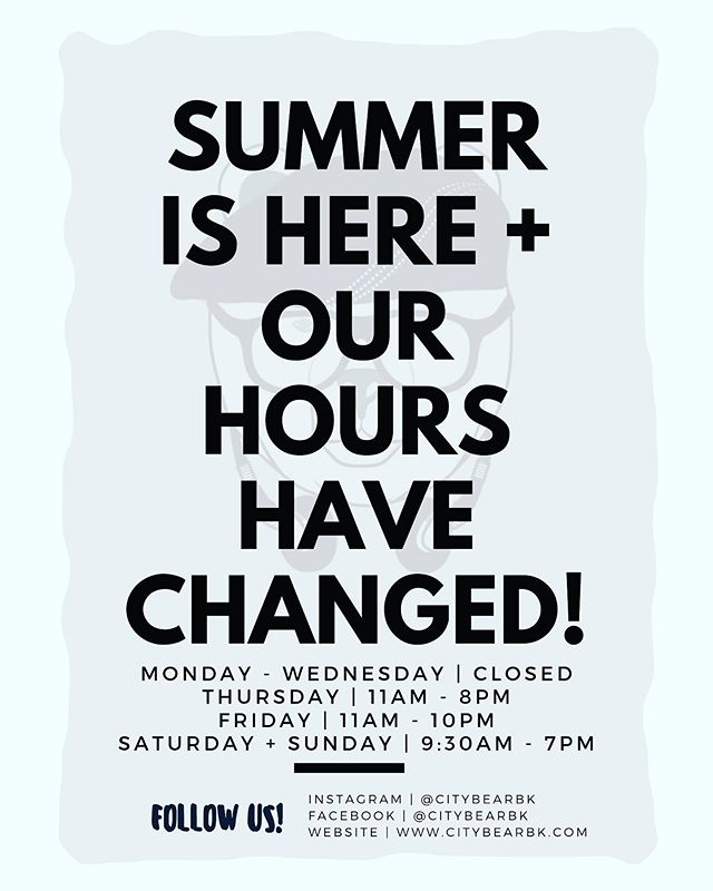 It's #Summer time and we're making some changes! As of this week, our hours will change to adjust accordingly. Note, Monday - Wednesday we are available for private events so be sure to #DM or Email is to inquire. Oh, and did we tell you, we've changed our #Menu (slightly..we kept all your favorites, though!) | #Brooklyn #Foodie #FoodPorn #Restaurant #NYC #NewHours #SummerTime #UnVeranoEnNuevaYork #PuertoRico #LatinOwnedBusiness #LatinOwnedRestaurant #Latinos #ThingsToDoInNYC #CityBearBK