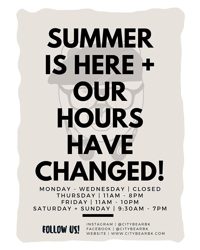 It's #Summer time and we're making some changes! As of this week, our hours will change to adjust accordingly. Note, Monday - Wednesday we are available for private events so be sure to #DM or Email is to inquire. Oh, and did we tell you, we've changed our #Menu (slightly..we kept all your favorites, though!) | #Brooklyn #Foodie #FoodPorn #Restaurant #NYC #NewHours #SummerTime #UnVeranoEnNuevaYork #PuertoRico #LatinOwnedBusiness #LatinOwnedRestaurant #Latinos #ThingsToDoInNYC #cincodemayo #CityBearBK