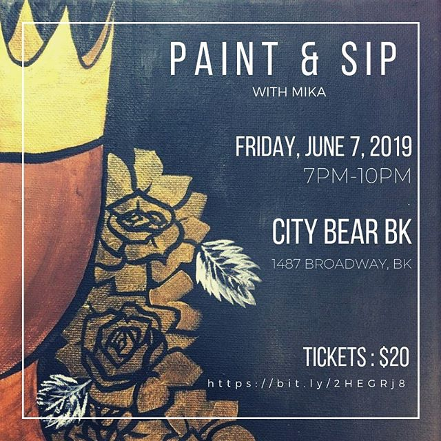 #PaintAndSip w @youbymika this #Friday at @citybearbk || Join is for a fun night with drink and food specials! #Foodie #Brooklyn #Bushwick #BushwickFoodie #CheapEats #ThingsToDoInNYC #Tacos #Burgers #Drinks