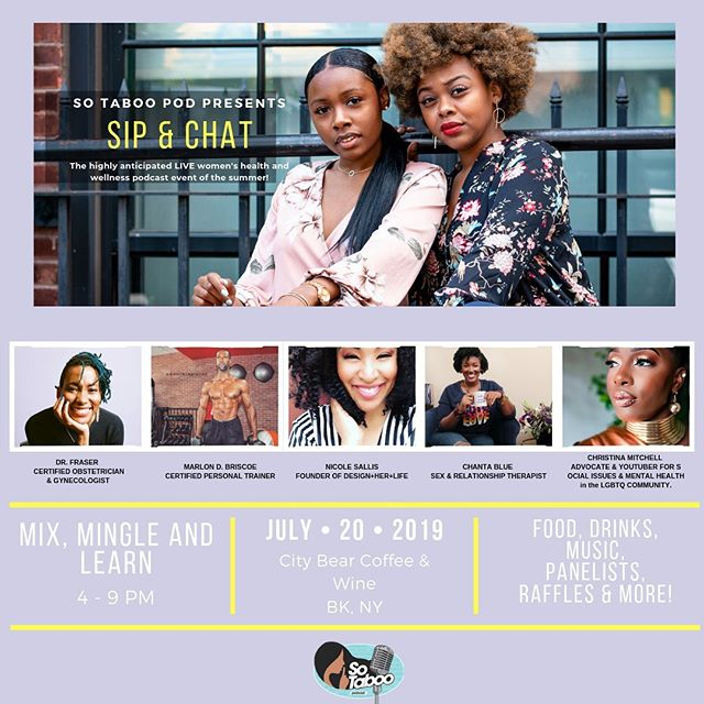 Happening this #Saturday at @CityBear || @SoTabooPod presents #SipAndChat || #LIVE Women's Health and Wellness Podcast Event! || #LinkInBio to RSVP and more information!  #Melanin #WomenOfColor #WomensHealth #Fitness #Podcast #Food #Drinks #Music #Panels #CityBearBK #Brooklyn #Foodie #BushwickFoodie #FoodPorn