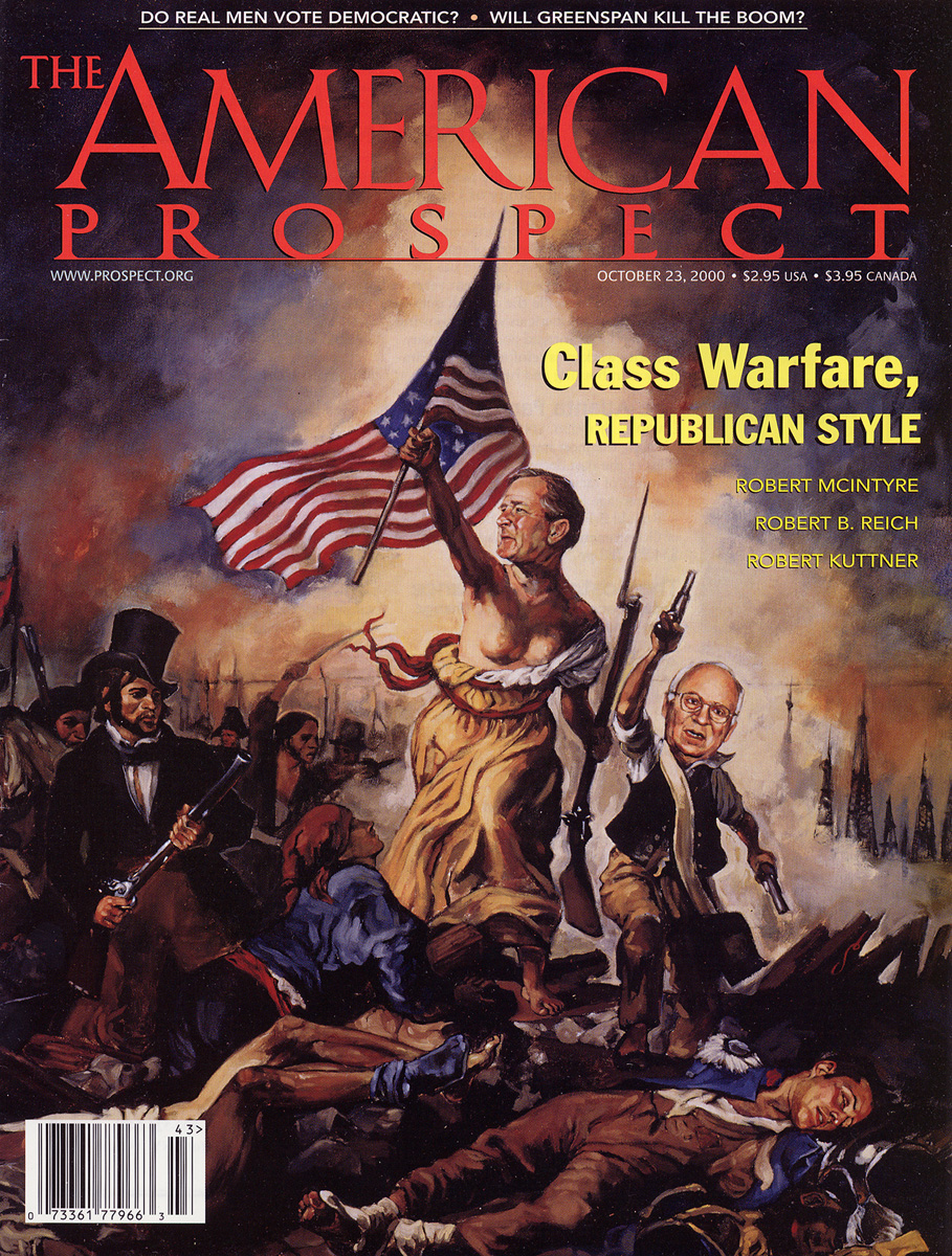 Cover art for The American Prospect magazine, with a re-creation of a Delacroix painting, depicting George W. Bush and Dick Cheney, 2000