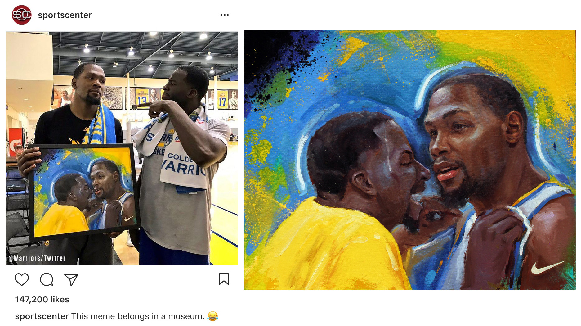 Social Media campaign for Nike NBA and space150 / Overnight portraits of NBA playoff moments / Kevin Durant and Draymond Green meme, 2017