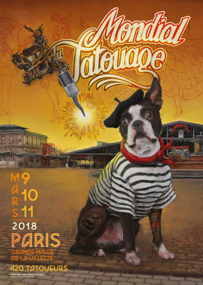 'Mondial du Tatouage, Paris', Official Poster for annual Tattoo Convention in Paris, 2018
