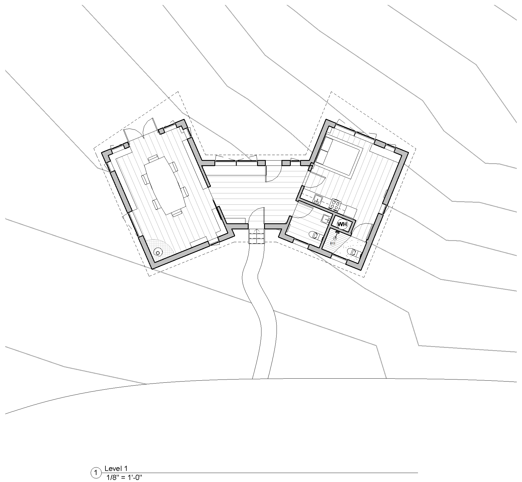 The concept for this house grew from the idea of modernizing the classic gable. By splitting the cable into two pieces and then separating them an entry vestibule could be formed. The vestibule physically separates the public library and meeting room (left) and the private quarters (right). Each piece was assembled individually in Waitsfield, VT then lifted by crane onto flat beds and transported to its final home where it was positioned on pre-case piers.