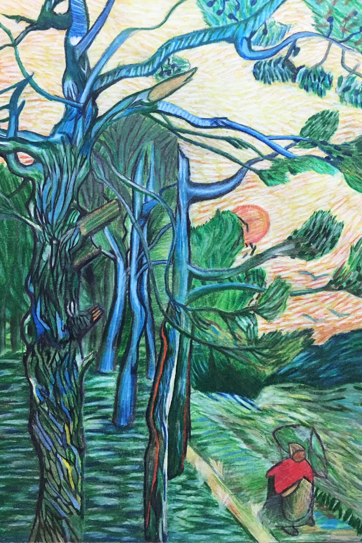 Reinterpretation of a Van Gohn's  Pine Trees Against A Red Sky with a Setting Sun -  Colored Pencil
