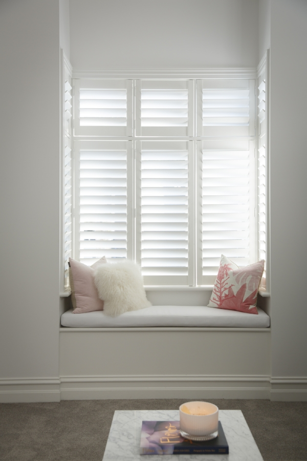 A window seat needs no intrusion from hanging curtains or cords - keep it simple and streamlined with a well-fitted blind or more gorgeous shutters as seen here in @juliaandsasha's Little Willow project.