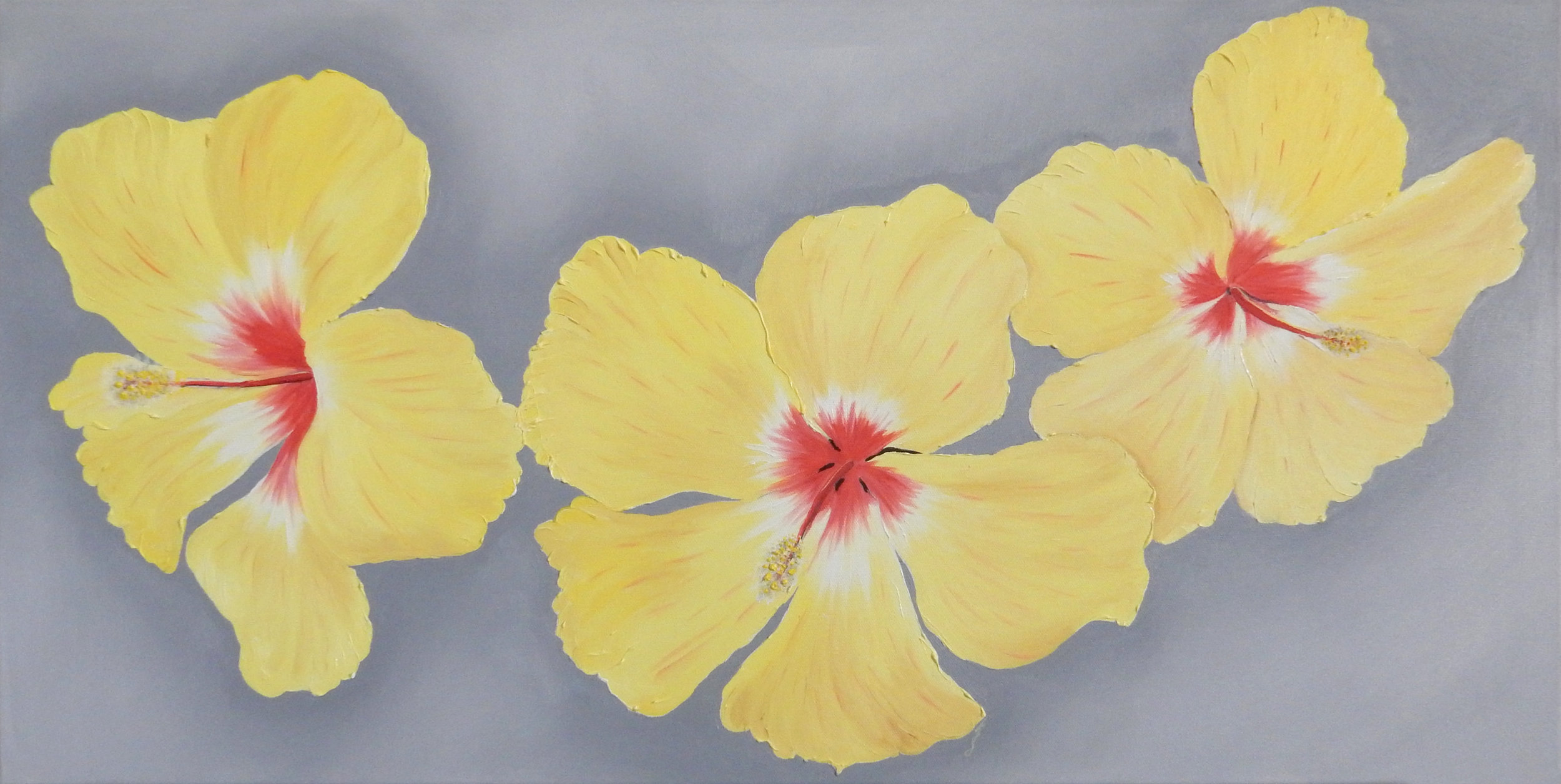 Yellow Hibiscus Triple  2017 Oil on canvas 18 x 36 x 1.5 inches