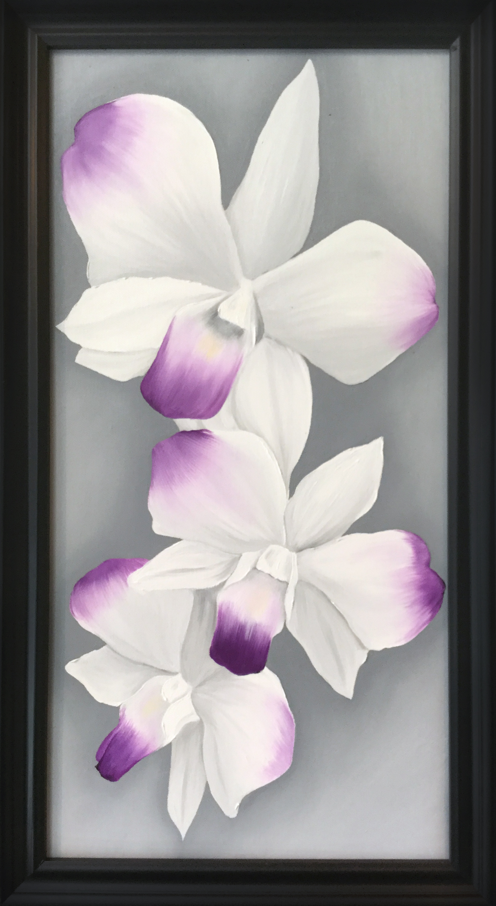 White and Purple Orchid   2017 Oil on canvas 24 x 12 inches