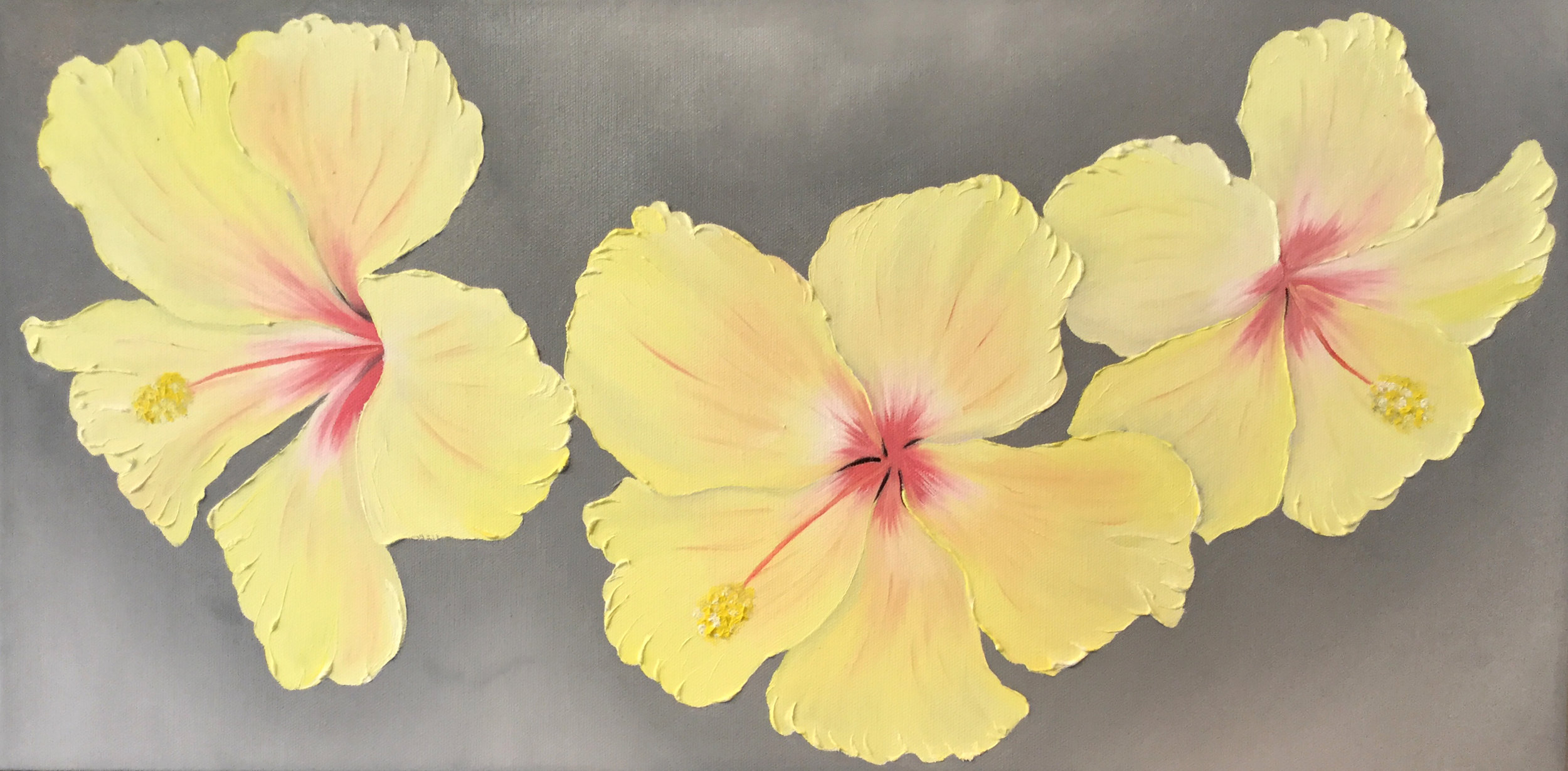 Yellow Hibiscus Triple  2017 Oil on canvas 12 x 24 x 1.5 inches