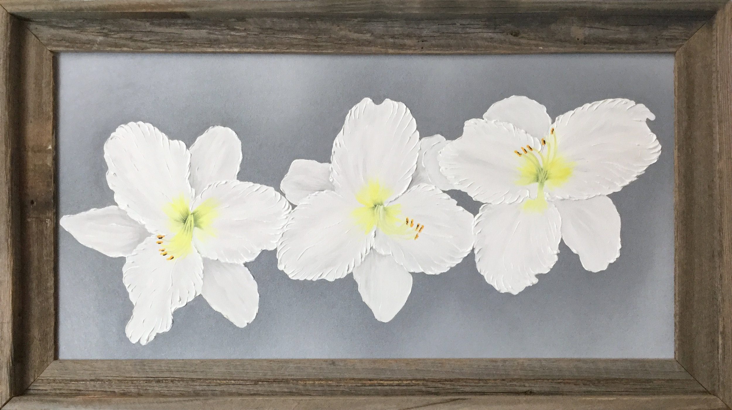 White Daylilies Triple  2017 Oil on canvas 12 x 24 inches
