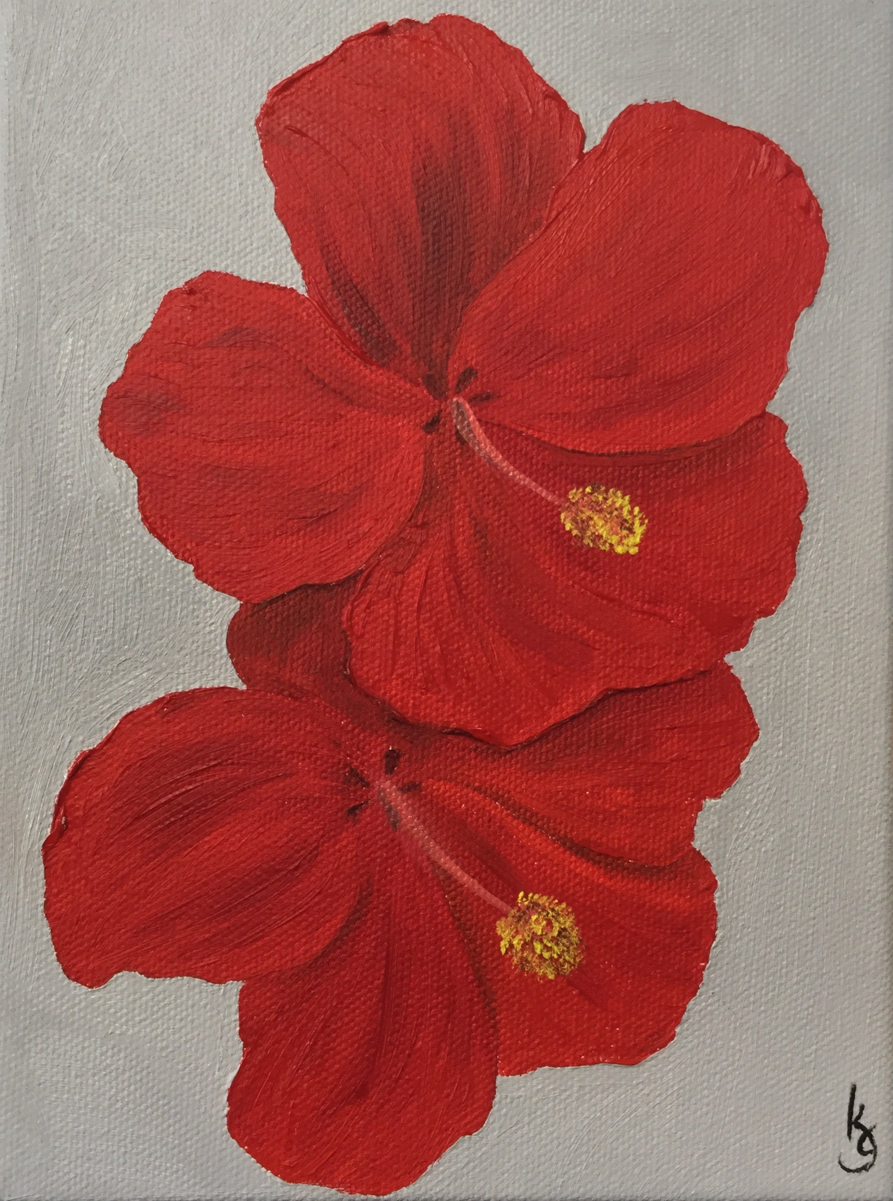 Red Hibiscus , 2017 86251771217 Oil on canvas 8 x 6 x 1.5 inches