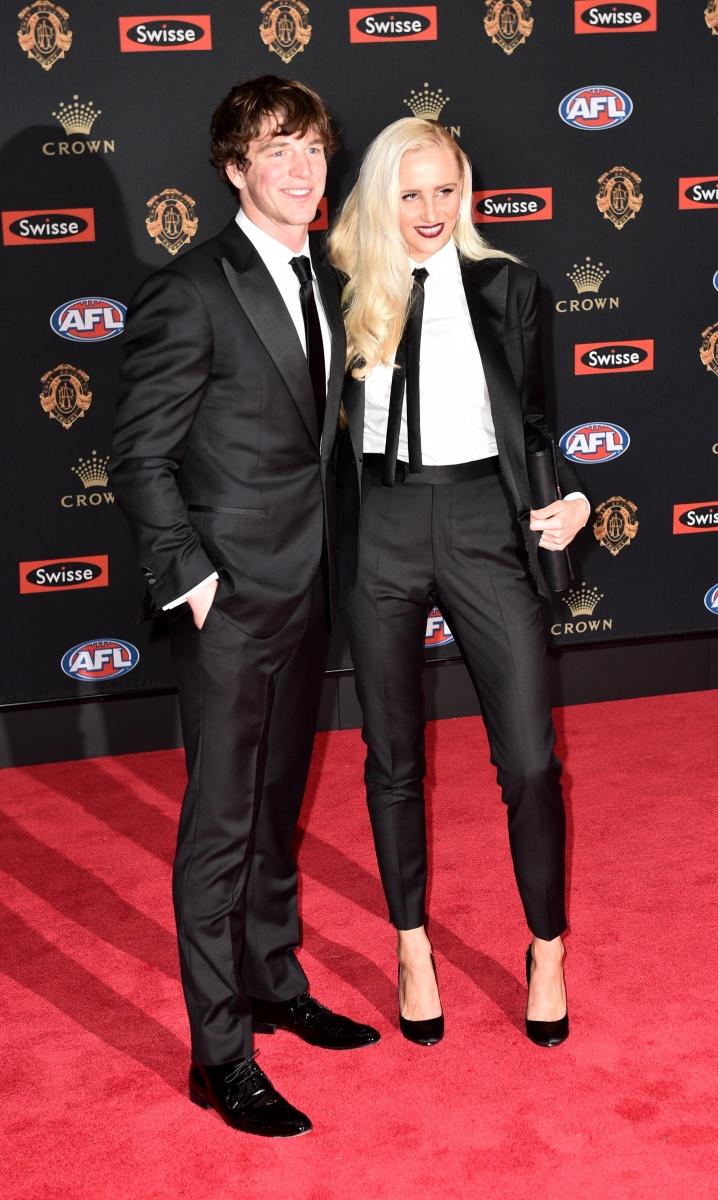 Western Bulldogs player Liam Picken with his partner Annie Nolan.